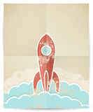 Vector retro rocket with grunge texture Royalty Free Stock Images