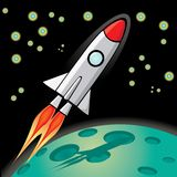 Vector retro rocket ship space in the sky. Royalty Free Stock Photos