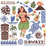 Vector Retro- Satz hawaiische Ikonen und Symbole Lizenzfreies Stockfoto