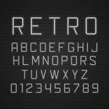Vector Retro- Schildbuchstaben des Designs mit hellen Neonröhren Stock Abbildung