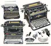 Vector retro schrijfmachines op zachte lichte achtergrond Royalty-vrije Stock Foto