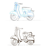 Vector retro scooter models in the thumbnail style Royalty Free Stock Photography