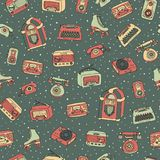 Vector retro seamless pattern with antique tech, scooter, juke b. Vector retro seamless pattern with antique electronics, scooter, juke box, radio, typewriter royalty free illustration