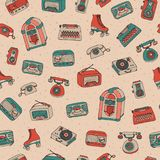 Vector retro seamless pattern with antique tech, scooter, juke b. Ox, radio, typewriter, roller skates and vinyl record player on the dotted background. Hand stock illustration