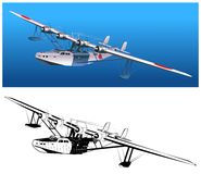 Vector retro seaplane Royalty Free Stock Images