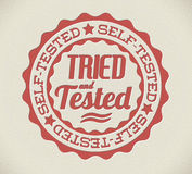 Vector retro self tried and tested stamp. Vector retro self tried and tested red detailed stamp stock illustration