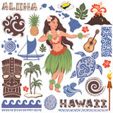 Vector Retro set of Hawaiian icons and symbols Royalty Free Stock Photo