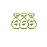 Vector retro sign made in pixel art style. Bags of money, econom Royalty Free Stock Image
