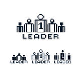 Vector retro sign made in pixel art style. Leadership and teamwo Stock Image
