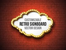 Vector retro signboard or lightbox illustration with customizable design on brick wall background. Cloud shape light. Banner or vintage bright billboard for Stock Photography