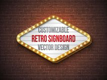 Vector retro signboard or lightbox illustration with customizable design on brick wall background. Light banner or. Vintage bright billboard for advertising or Royalty Free Stock Photo