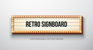 Vector retro signboard or lightbox illustration with customizable design on clean background. Light banner or vintage. Bright billboard for advertising or your vector illustration