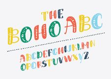 Vector of retro slanted font and alphabet. Vector of retro slanted boho alphabet. ABC in different colors on white background. English typeface for print, design Royalty Free Stock Photo