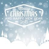Vector retro snowy Christmas card Royalty Free Stock Images