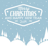 Vector retro snowy landscape as a Christmas card. (blue and white Royalty Free Stock Image