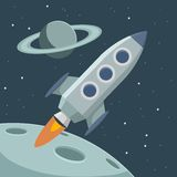 Vector retro space with rocket and planets Royalty Free Stock Photo