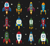 Vector retro space rocket ship icon set in a flat style. Design elements for background with project start up and Stock Image