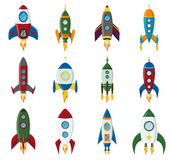 Vector retro space rocket ship icon set in a flat style. Design elements for background with project start up and Stock Photo