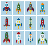 Vector retro space rocket ship icon set in a flat style. Design elements for background with project start up and Royalty Free Stock Photo