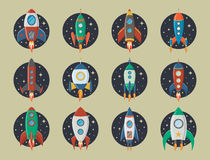 Vector retro space rocket ship icon set in a flat style. Design elements for background with project start up and Royalty Free Stock Image