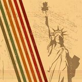 The vector retro Statue of Liberty background Stock Photo