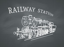 Vector Retro Steam Locomotive Royalty Free Stock Images