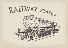 Vector Retro Steam Locomotive Stock Photos