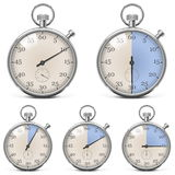 Vector Retro Stopwatch Set Stock Photo