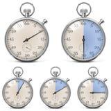 Vector Retro Stopwatch Set Stock Photo