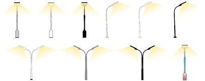 Vector retro street lamps  on white Stock Photography