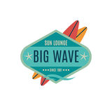 Vector Retro Style Surfing Labels, Logos royalty free stock photos