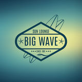 Vector Retro Style Surfing Labels, Logos Stock Photography