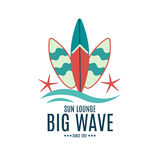 Vector Retro Style Surfing Labels, Logos Royalty Free Stock Photo