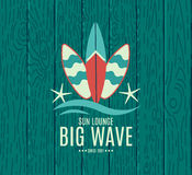 Vector Retro Style Surfing Labels, Logos Stock Images