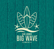 Vector Retro Style Surfing Labels, Logos Royalty Free Stock Photography