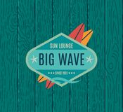 Vector Retro Style Surfing Labels, Logos Stock Photos