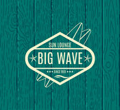 Vector Retro Style Surfing Labels, Logos Royalty Free Stock Image