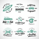 Vector Retro Style Surfing Labels, Logos or T-shirt Graphic Design Featuring Surfboards, Surf Woodie Car, Motorcycle. Silhouette, Helmet and Flowers. Isolated Stock Images