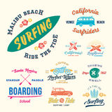 Vector Retro Style Surfing Labels, Logos or T-shirt Graphic Design Featuring Surfboards, Surf Woodie Car, Motorcycle. Silhouette, Helmet and Flowers. Isolated Royalty Free Stock Photo