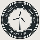 Vector retro styled badge with wind turbine symbol. Green energy sign. Ecology saving badge Stock Photography