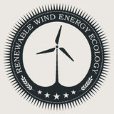 Vector retro styled badge with wind turbine symbol. Green energy sign. Ecology saving badge Stock Images