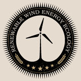 Vector retro styled badge with wind turbine symbol. Green energy sign. Ecology saving badge Royalty Free Stock Image