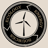 Vector retro styled badge with wind turbine symbol. Green energy sign. Ecology saving badge Royalty Free Stock Photography