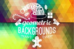 Vector retro supply, hipster background.Retro styled badges, signs.Banner. Vintage Insignias. Backdrop. Geometric Christmas. Typographic label Xmas New Year royalty free illustration