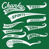 Vector Retro Swooshes with Words. Vector Swooshes, Swishes, Whooshes, and Swashes for Typography on Retro or Vintage Baseball Tail Tee shirt Royalty Free Stock Photos