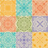 Vector retro symmetrical tiles seamless pattern background. royalty free illustration