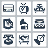 Vector retro technology icons set #1 Stock Image