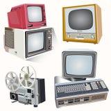 Vector retro televisie op zachte lichte achtergrond Stock Foto