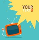 Vector retro televisiekaart Vlak Ontwerp stock illustratie