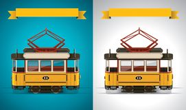 Vector retro tram XXL icon Stock Photo